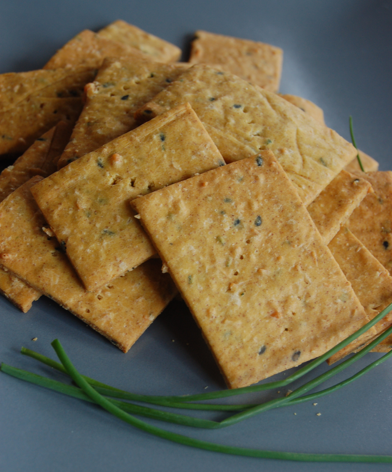Delicious chikpea crackers ready for snacking